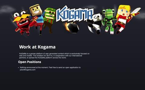 Screenshot of Jobs Page kogama.com - KoGaMa - The Social Builder - captured Oct. 26, 2014