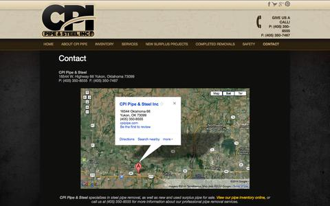 Screenshot of Contact Page cpipipe.com - Steel Pipe Removal Company | New Used Surplus Pipe For Sale - captured Oct. 1, 2014