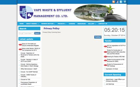Screenshot of Privacy Page vwemcl.com - Vapi Waste Effluent & Management Co. Ltd. - Privacy Policy of Vapi Waste and Effluent Management Company - captured Oct. 26, 2014