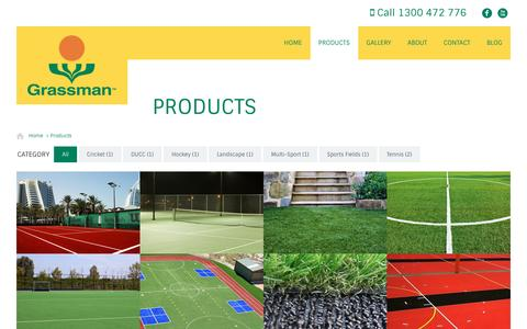 Screenshot of Products Page grassman.com.au - Grassman Products, Synthetic & Artificial Turf, Grass & Lawn - captured Feb. 1, 2016
