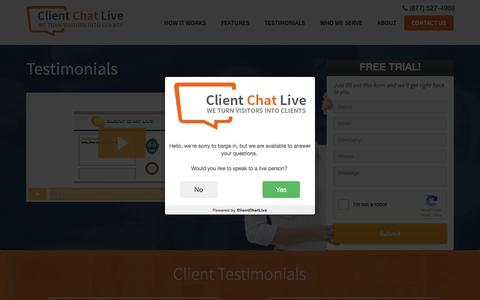 Screenshot of Testimonials Page clientchatlive.com - Testimonials - Client Chat Live - captured Dec. 9, 2015
