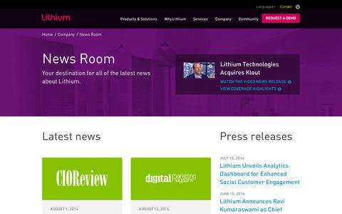 Screenshot of Press Page lithium.com - Your destination for all of the latest news about Lithium. | Lithium - captured Sept. 11, 2014