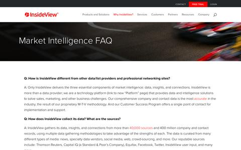 Screenshot of FAQ Page insideview.com - Market Intelligence FAQ - InsideView - captured Dec. 12, 2015