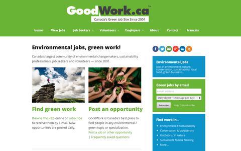 Screenshot of Home Page goodwork.ca - Environmental Jobs, Green Jobs, Conservation Jobs   GoodWork.ca - captured Aug. 28, 2017