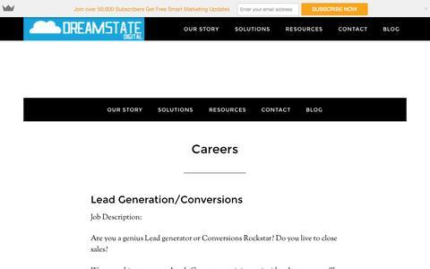 Screenshot of Jobs Page dreamstatedigital.com - Careers - DreamStateDigital - captured Nov. 2, 2014
