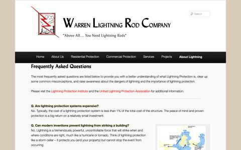 Screenshot of FAQ Page wlrc.net - FAQs | Warren Lightning Rod Company - captured Oct. 18, 2018