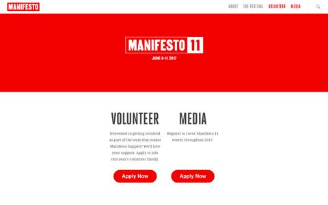 Screenshot of Press Page mnfsto.com - Manifesto 2017 Applications - MANIFESTO - captured Oct. 5, 2017