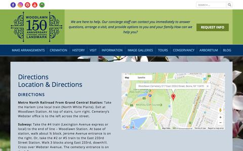 Screenshot of Maps & Directions Page thewoodlawncemetery.org - Directions - The Woodlawn Cemetery - captured June 17, 2017