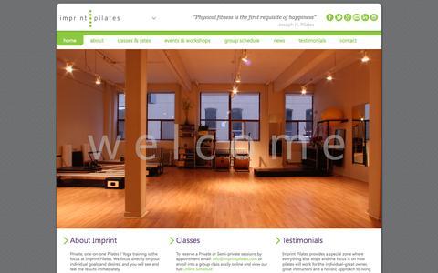 Screenshot of Home Page imprintpilates.com - Imprint Pilates - Toronto - captured Sept. 30, 2014