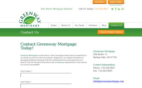 Screenshot of Contact Page callvine.com - Contact Us   Greenway Mortgage - captured July 19, 2014