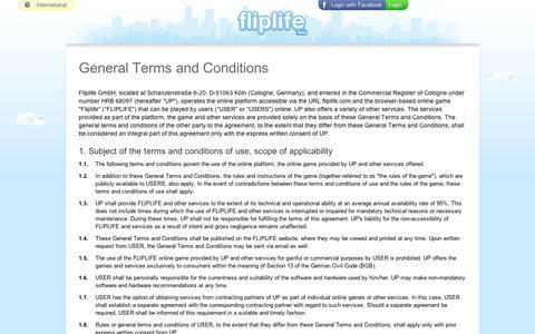Screenshot of Terms Page fliplife.com - Fliplife - captured Sept. 12, 2014