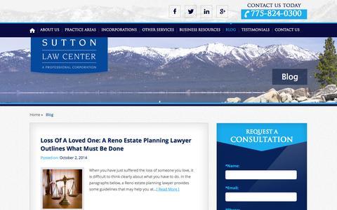 Screenshot of Blog sutlaw.com - Reno Living Trust Attorney | Blog | Sutton Law Center - captured Nov. 5, 2014