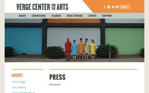 Screenshot of Press Page vergeart.com - Verge Center for the Arts - captured Nov. 29, 2016