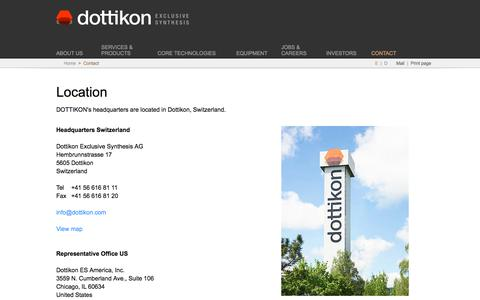Screenshot of Contact Page dottikon.com - Contact - captured Oct. 12, 2017