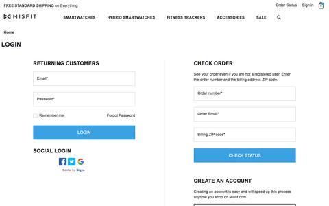 Screenshot of Login Page misfit.com - Sites-misfit-us-Site - captured Sept. 13, 2019