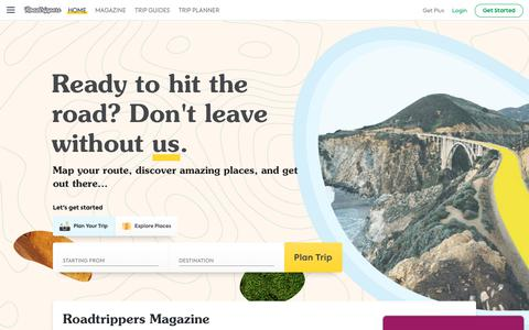 Screenshot of Home Page roadtrippers.com - Roadtrippers | Road Trip Planner — Plan Your Next Adventure - captured Nov. 7, 2019