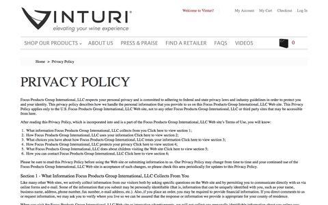 Screenshot of Privacy Page vinturi.com - Privacy Policy - captured Dec. 13, 2016
