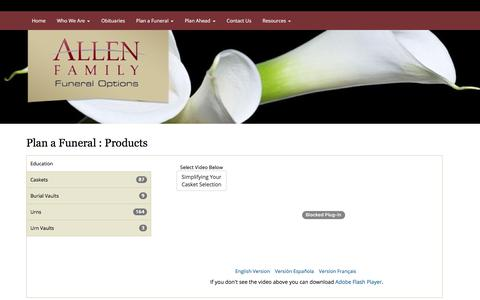 Screenshot of Products Page affoplano.com - ALLEN FAMILY FUNERAL OPTIONS : Plano, Texas (TX) - captured Oct. 8, 2017