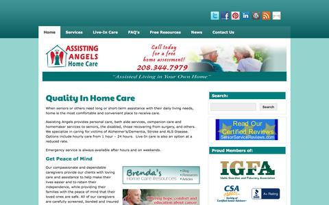 Screenshot of Home Page assistingangels.biz - Assisting Angels, quality caregivers in your own home - captured Nov. 21, 2016