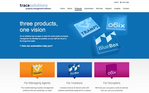Screenshot of Products Page tracesolutions.co.uk - Property management software for agents, investors & occupiers | Trace Solutions - captured Oct. 7, 2014