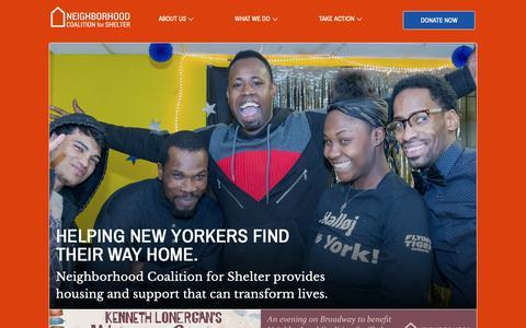 Screenshot of Home Page ncsinc.org - Neighborhood Coalition for Shelter - captured Oct. 19, 2018