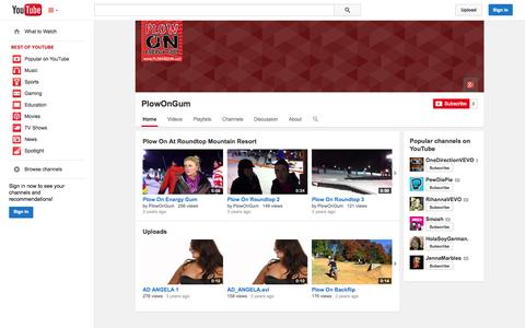 Screenshot of YouTube Page youtube.com - PlowOnGum  - YouTube - captured Oct. 22, 2014