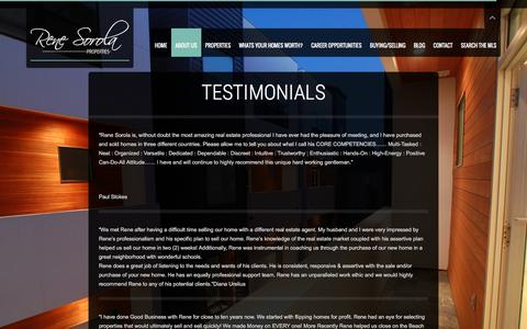 Screenshot of Testimonials Page renesorola.com - Testimonials | Rene Sorola Properties | Houston Luxury Real Estate Agency - captured Feb. 25, 2016