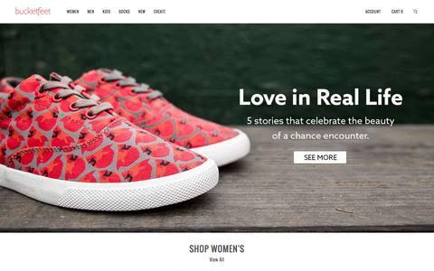 Screenshot of Home Page bucketfeet.com - BucketFeet   Artist Designed Footwear - captured Feb. 7, 2016