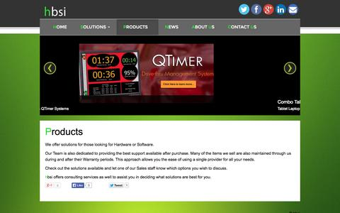 Screenshot of Products Page hbsi.co - Products - hbsi - captured Oct. 2, 2014