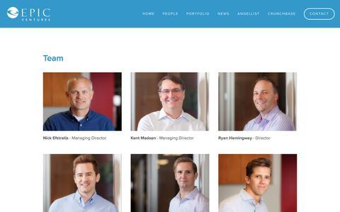 Screenshot of Team Page epicvc.com - People — EPIC Ventures - captured Sept. 19, 2019