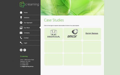 Screenshot of Case Studies Page c-learning.com.au - C-Learning | World class e-learning expertise & solutions - Melbourne, Australia - captured Sept. 26, 2014