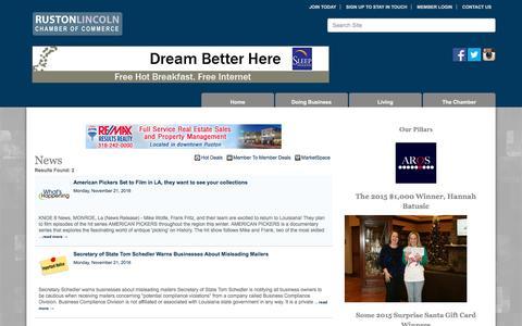 Screenshot of Press Page rustonlincoln.org - News - Ruston-Lincoln Chamber of Commerce, LA - captured Dec. 3, 2016