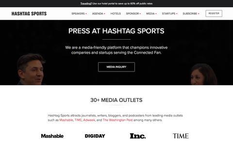 Screenshot of Press Page hashtagsports.com - Hashtag Sports | Media & Press - captured May 15, 2017