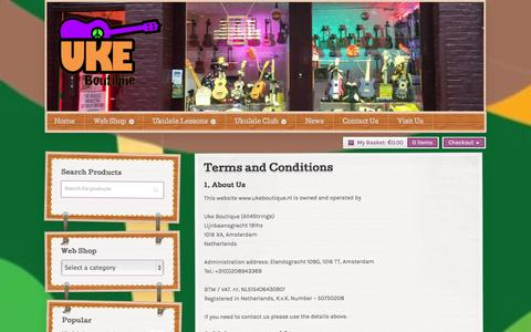Screenshot of Terms Page ukeboutique.nl - Details of the terms and conditions of using our website. - captured Sept. 30, 2014