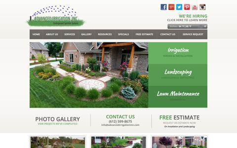 Screenshot of Home Page advancedirrigationmn.com - Landscaping Minneapolis & St Paul | Advanced Irrigation Systems MN - captured Oct. 3, 2018