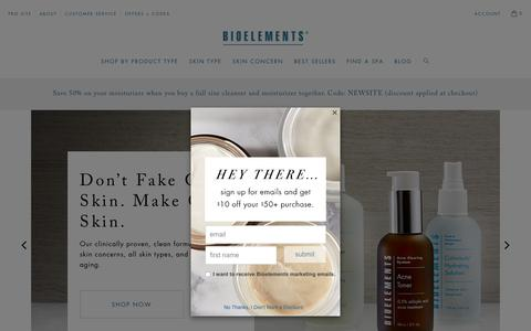 Screenshot of Home Page bioelements.com - Professional Skin Care Products and Treatments - captured Nov. 17, 2018
