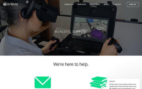 Screenshot of Support Page worldviz.com - WorldViz says… - captured July 12, 2018
