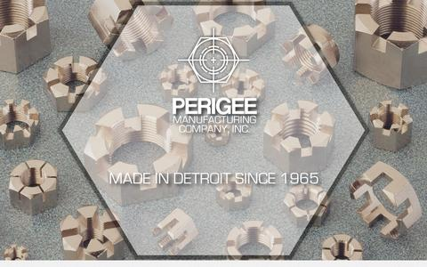 Screenshot of Home Page perigeemfg.com - Perigee Manufacturing Co, Inc. - Manufacturers of hexagon nuts - captured Jan. 27, 2016