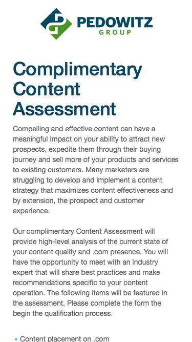 Complimentary Content Assessment