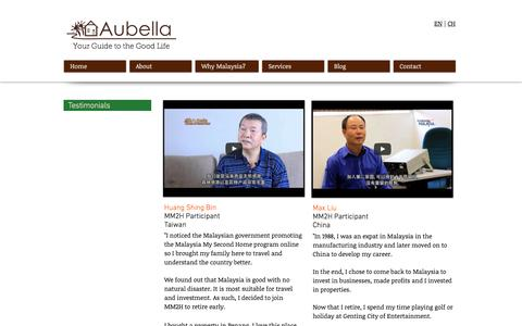 Screenshot of Testimonials Page aubella.com - Aubella   Malaysia My Second Home Agent   Testimonials - captured Nov. 21, 2016