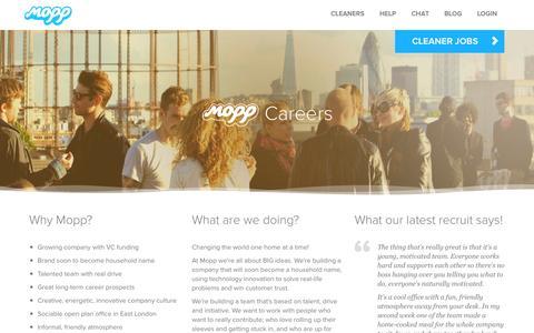 Screenshot of Jobs Page mopp.com - Startup jobs, jobs in london, Mopp careers | Careers | Mopp - captured Sept. 19, 2014