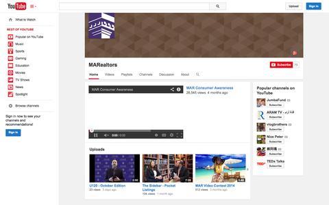 Screenshot of YouTube Page youtube.com - MARealtors  - YouTube - captured Oct. 27, 2014