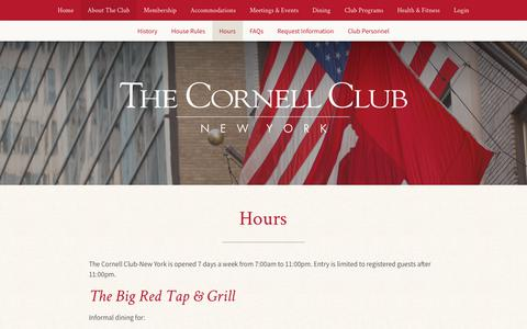Screenshot of Hours Page cornellclubnyc.com - The Cornell Club - New York View Library Document: Hours - captured Oct. 18, 2018
