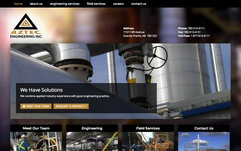 Screenshot of Home Page azeng.com - Home - Aztec Engineering Inc. - captured Oct. 4, 2014
