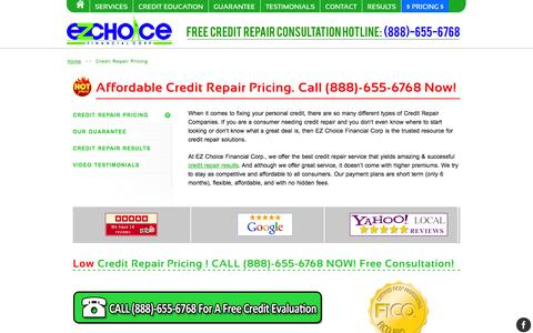 Screenshot of Pricing Page ezchoicefinancial.com - Affordable Credit Repair Pricing Starting As Low As $97 - captured Nov. 1, 2014