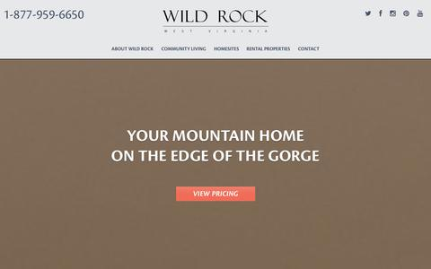 Screenshot of Home Page wildrockwv.com - West Virginia Mountain Home Community in the New River Gorge, WV - captured Oct. 7, 2014