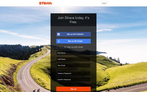 Screenshot of Signup Page strava.com - Create an Account for Cycling and Running Training Log and GPS Bike Routes | Strava Register - captured Nov. 10, 2015