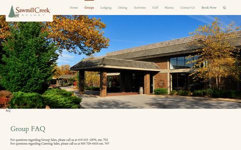 Screenshot of FAQ Page sawmillcreekresort.com - Group FAQ | Sawmill Creek Resort - captured July 23, 2016