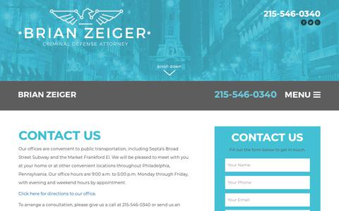 Screenshot of Contact Page brianzeiger.com - Contact Us - The Zeiger Firm - captured Sept. 28, 2018