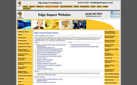 Screenshot of Support Page edgeimpact.co.uk - Support Centre - captured Jan. 26, 2016